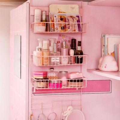 냉장고걸이 3단 스틸 수납선반(핑크) 주방 틈새선반