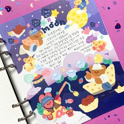 오메베어 은방울꽃이 피는 보름달 밤 스티커