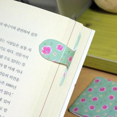 [플라스틱 and 자석 자동책갈피수지인] 써니봄꽃패턴(민트)