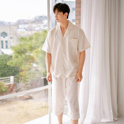 [쿠비카]남성 마린 체크 반팔 순면잠옷 세트 M137