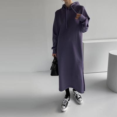 Gimo Hood Slit Long Dress - 기모안감