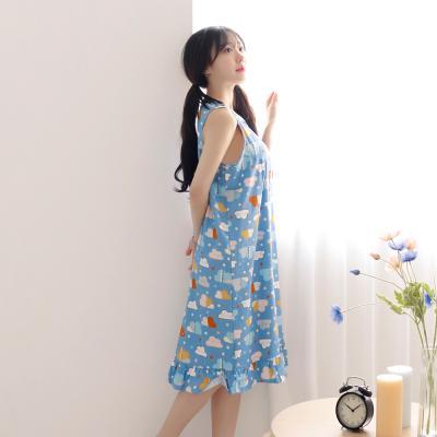 테라우드 여성용 코튼 프릴 민소매 원피스 잠옷
