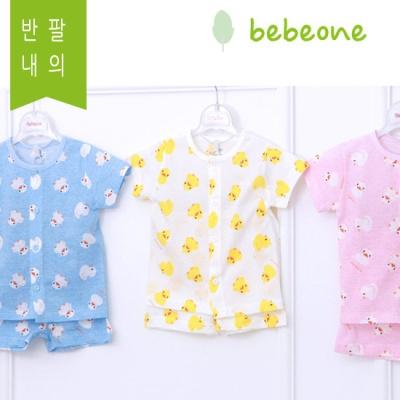[베베원] 시원한 오리 쟈가드 반팔내의 3 종택1 신생아 아기 출산 국내생산 선물