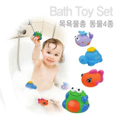 목욕 놀이 케이스 키즈 목욕물총 동물 4종