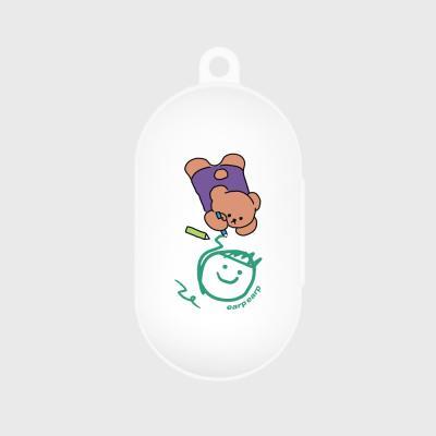 Doodle bear-white(buds jelly case)