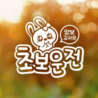 18D37 엠보싱문구애교토끼초보운전05 반사