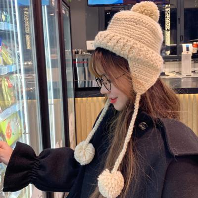 또띠 여성 귀달이 털방울 모자 니트 모자