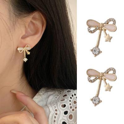 으노 골드 리본 레이어드 여성 귀걸이 925 silver