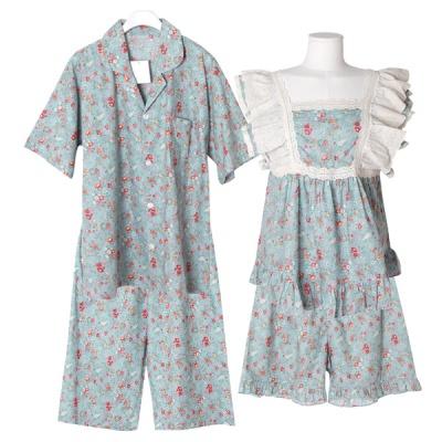 [쿠비카]스퀘어넥 레이스 5부 투피스 커플잠옷 WM262