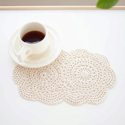 오벌 도일리 크로쉐 핸드메이드 수제 패브릭 장식품