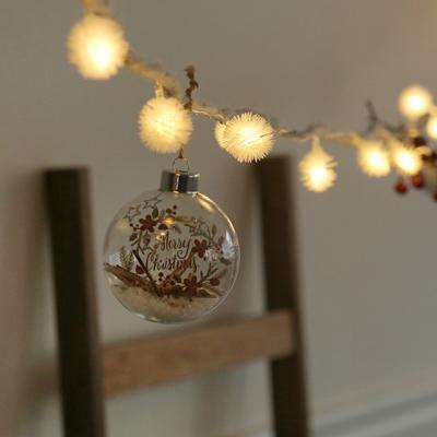 눈꽃내린 메리크리스마스유리볼 + LED전구set [3size]