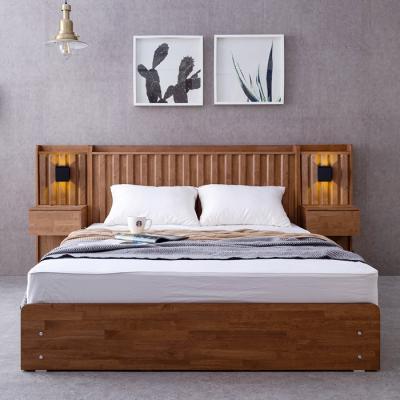 [노하우] 멜라 고무나무원목 서랍형 퀸 침대+협탁1개