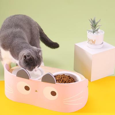 강아지 고양이 우드 프레임 더블 식기