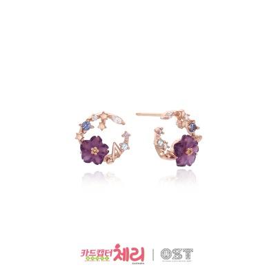 지수의 보라빛 벚꽃 밤의노래 실버 귀걸이