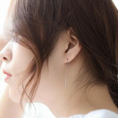제이로렌 M01339 실버 체인 일자 드롭 귀걸이