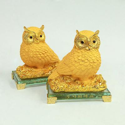 황금 부엉이 세트_2pcs / 인테리어 / 풍수용품 선물