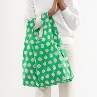 [바쿠백] 휴대용 장바구니 시장가방 Green Daisy