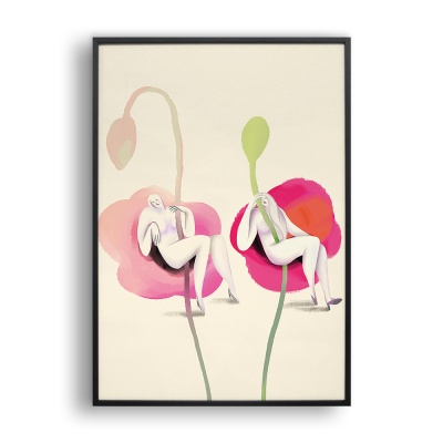 꽃과 여자 / 일러스트 액자