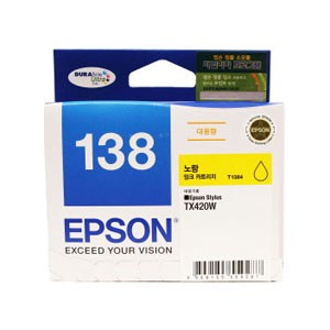 엡손(EPSON) 잉크 C13T138470 / NO.138 / 노랑 / Stylus TX230W,TX235,TX420W,TX430W,TX435W , Stylus Office TX320F,TX325F