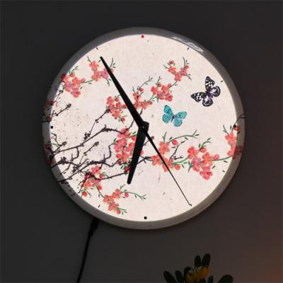 nf487-LED시계액자25R_아름다운민화벚꽃과나비