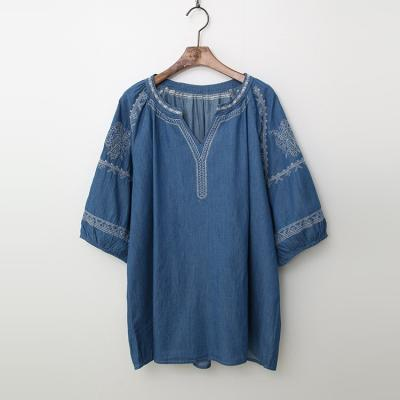 Summer Denim Broderie Blouse