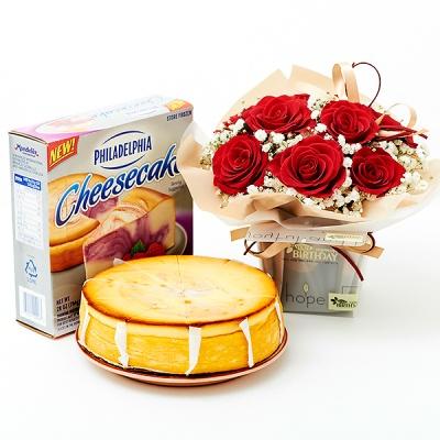 필라델피아 치즈케익 라즈베리 스월(794g)+로즈리치박스