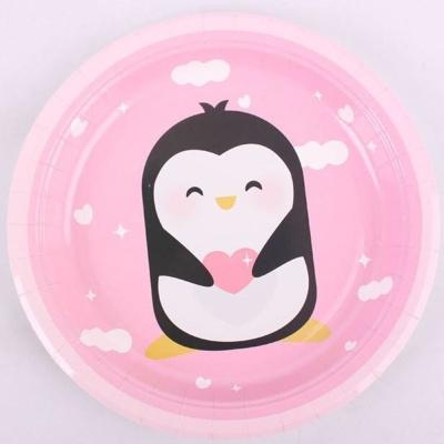 하니 캐릭터 칼라 종이접시23cm 5매(핑크)