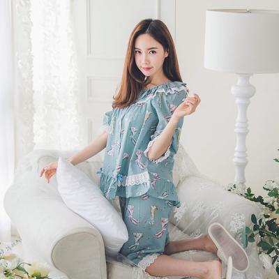 [쿠비카]래빗 프린팅 순면 투피스 여성잠옷 W136