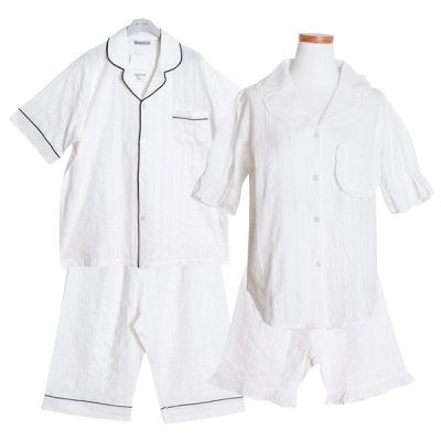 [쿠비카]포켓 프릴 도비면 투피스 커플잠옷 WM219