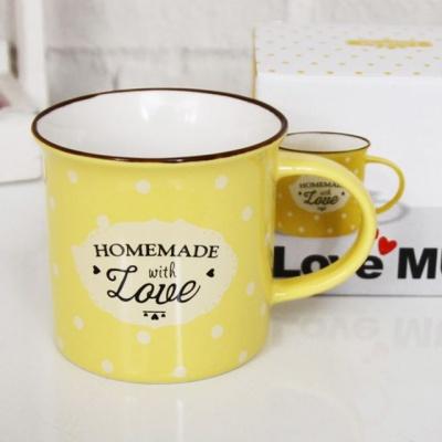 커피잔 러브머그컵(8oz)_옐로우 1개 머그잔 물컵 물잔