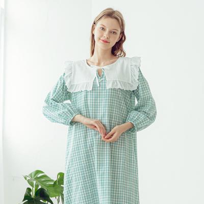 Angel 세일러 체크 빅카라 여성 원피스잠옷