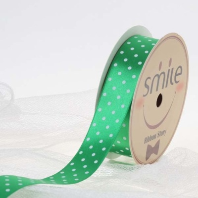 공단 땡땡이리본 20번 초록 백색땡 25mm (9미터 컷팅