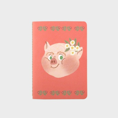 Piggy with Flower Mini Note Book