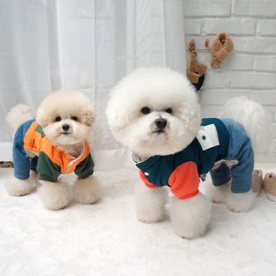 강아지겨울옷 애견올인원 청패딩 점퍼올인원