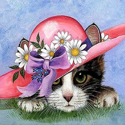 꽃모자 고양이 (패브릭) 보석십자수 40x40