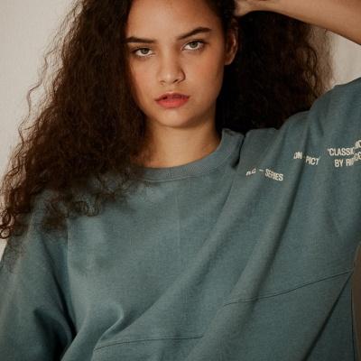 오버핏 소매 레터링 5부 티셔츠(남여공용) 블루