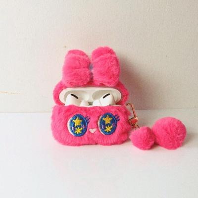 에어팟케이스 1/2 리본 토끼 캐릭터 밍크 털 422 핑크