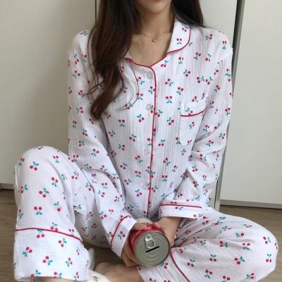 (kc인증)루즈핏 이중겹 요루면 체리 잠옷 세트