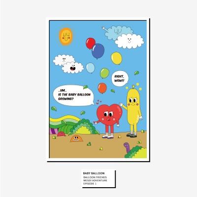 벌룬프렌즈 A4,A3 포스터 - 풍선이 자라고 있어
