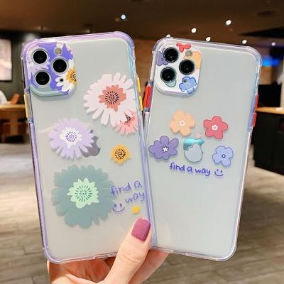 아이폰SE2 8 7+ 렌즈보호 플라워 프린팅 젤리 케이스