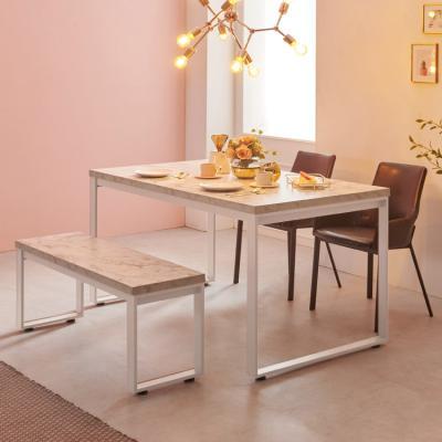 스틸마블 4인용 식탁테이블 1200x600+벤치의자세트
