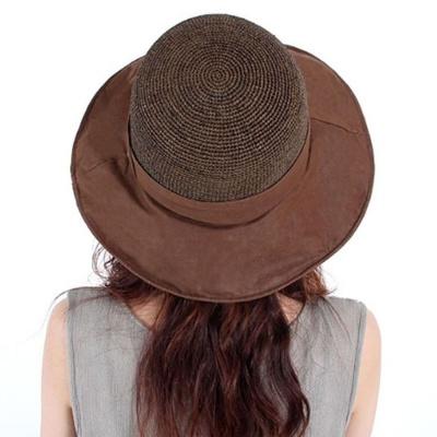 여성 라피아햇 창넓은 버킷햇 비치 여름 모자 브라운