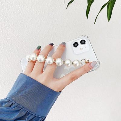 아이폰12 미니 pro max 진주 핸드 스트랩 투명 케이스