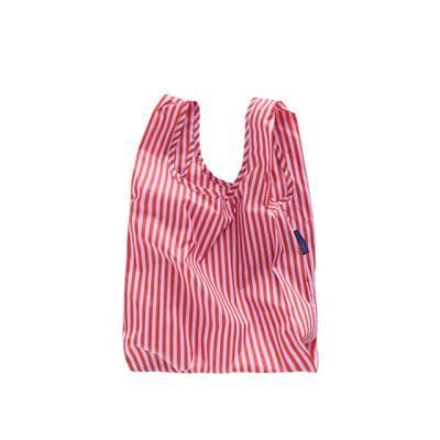 [바쿠백] 소형 베이비 에코백 장바구니 Cerise Stripe