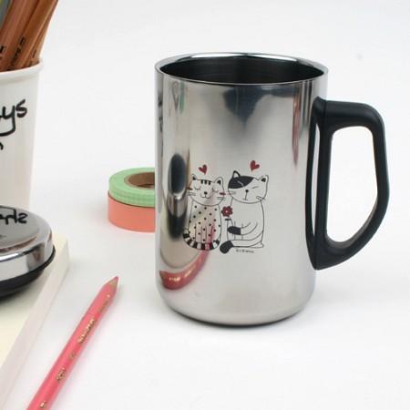 스위트 스텐레스 머그컵 - 커플고양이