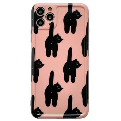 아이폰 카메라보호 검은 고양이 패턴 실리콘 케이스