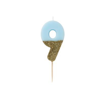 블루 글리터 숫자초 9