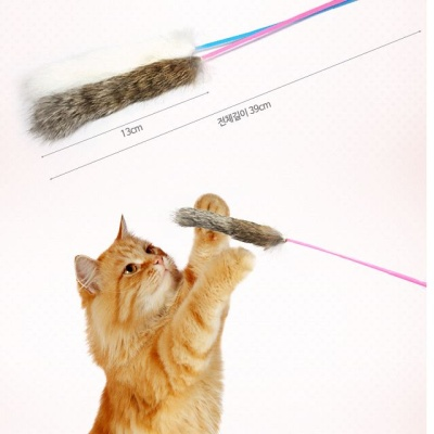 고양이 오뎅꼬치스틱 토끼털 냥이장난감 색랜덤