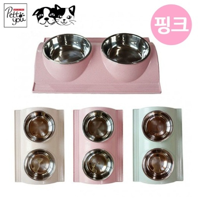 펫투유우쭈쭈 클린 마블식기 (핑크) (애완용 식기)