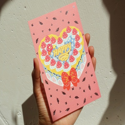빈티지 케이크 핑크 엽서